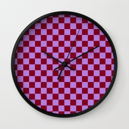Lavender Violet and Burgundy Red Checkerboard Wall Clock