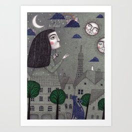 Above the Rooftops Art Print