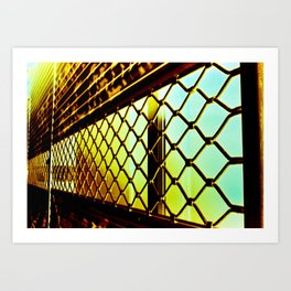 Abstract Cross Processed Sea Foam Green Metal Gate Store Shutter Art Print
