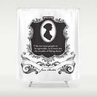 jane austen Shower Curtains featuring Jane Austen Snarky Quote by ArtSoElectric