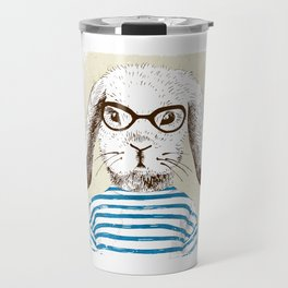 Hipster Rabit with Style Travel Mug