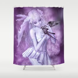 Purple Crow Shower Curtain