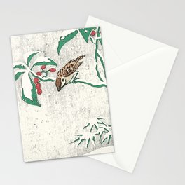 Christmas card detail 2 snow sparrows Stationery Cards