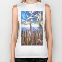 New York Manhattan Skyline Art Biker Tank