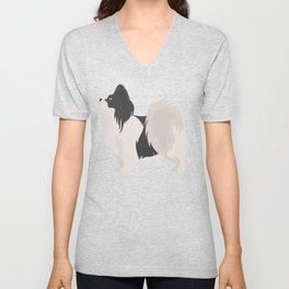 Papillon Dog Unisex V-Neck