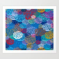 coral Art Prints featuring Coral by Helene Michau