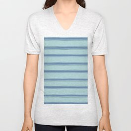 Cobalt blue french striped Unisex V-Neck