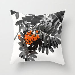 Red Rowan Berries In Black And White Background #decor #society6 Throw Pillow