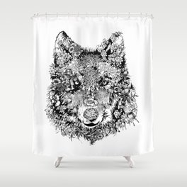floral animals -black and white wolf Shower Curtain