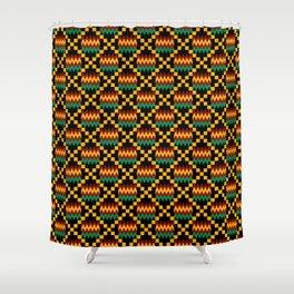 Green, Dark Red, Yellow Gold Kente Cloth on Black Shower Curtain