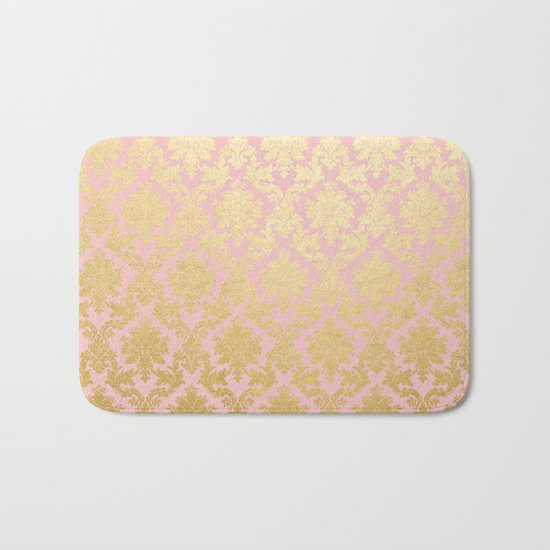 Princess like - Luxury pink gold ornamental damask pattern Bath Mat