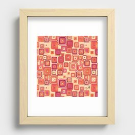 Watercolour Squares Red Amanya Design Recessed Framed Print