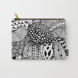 Zentangle Black and White Summer Sunflower Carry-All Pouch