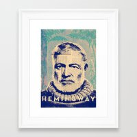 hemingway Framed Art Prints featuring Hemingway by Jonathan David Creative