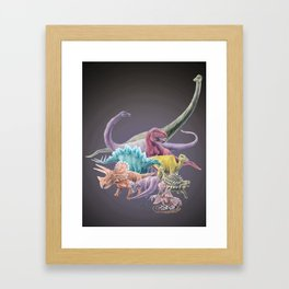 Rainbow Dinosaurs Framed Art Print