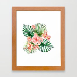 Tropical Jungle Hibiscus Flowers - Floral Framed Art Print