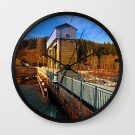 Hydropower station in winter wonderland   architectural photography Wall Clock