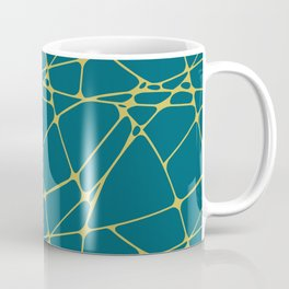 Dark Yellow Abstract Mosaic Pattern 1 on Tropical Dark Teal Inspired by Sherwin Williams 2020 Trending Color Oceanside SW6496 Coffee Mug