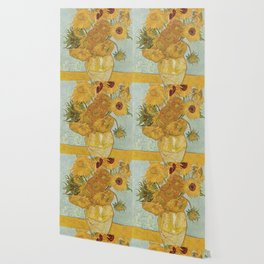 STILL LIFE: VASE WITH TWELVE SUNFLOWERS - VAN GOGH Wallpaper