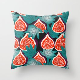 Colorful figs and leaves Throw Pillow