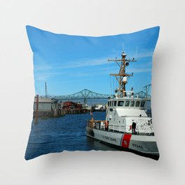 US Coast Guard On Columbia River Throw Pillow