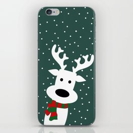 Reindeer in a snowy day (green) iPhone Skin