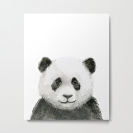 Baby Panda Whimsical Animal Watercolor Cute Baby Animals Metal Print