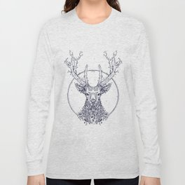 Flowers and Stag [Monochrome] Long Sleeve T-shirt