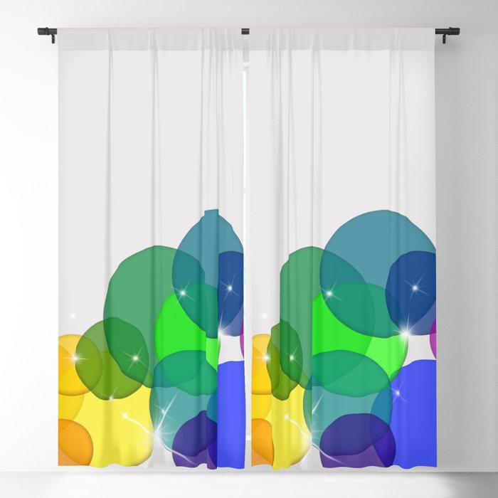 Translucent Rainbow Colored Circles with Sparkles - Multi Colored Blackout Curtain