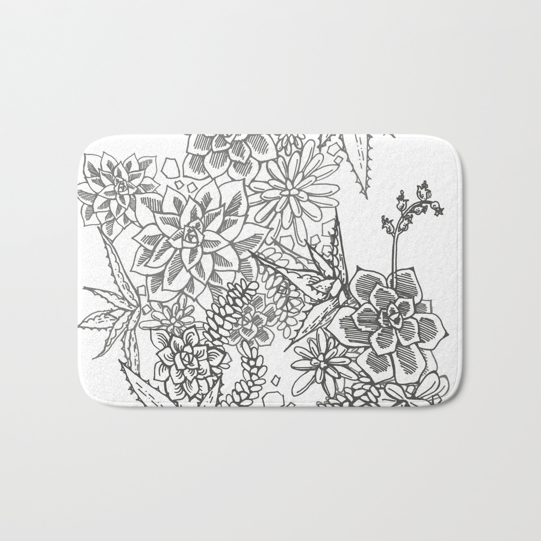Succulent Doodle Black White Bath Mat