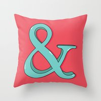 ampersand Throw Pillows featuring Ampersand by Chelsea Herrick