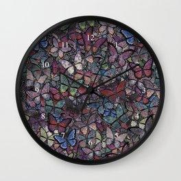 midnight fantasy butterflies aflutter Wall Clock