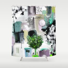 Peinture digitale maison arbres chat oiseau bulles Shower Curtain
