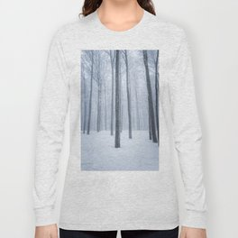 Foggy frozen winter forest Long Sleeve T-shirt