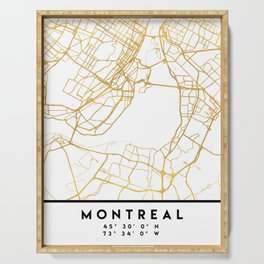 MONTREAL CANADA CITY STREET MAP ART Serving Tray