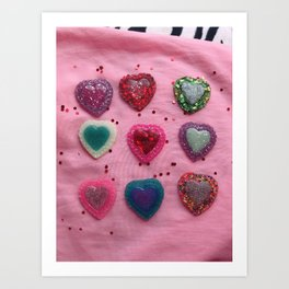 Glitter Hearts Club Art Print