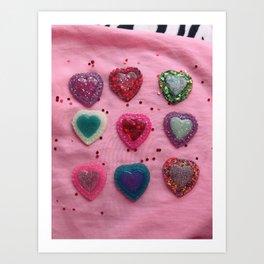 Glitter Hearts Club Art Print