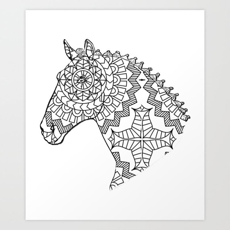 Geometric Pattern Horse Head Art Print By Acoetzer Society6