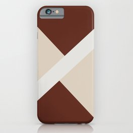 Beige White Red-Brown Stripe Offset Shape Design 2021 Color of the Year Uptown Ecru & Accent Shade iPhone Case