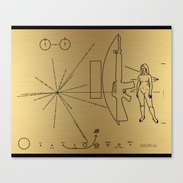 We Come With Piece (Pioneer probe plaque) by Dan Levin Canvas Print