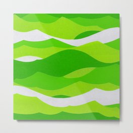 Waves - Lime Green Metal Print