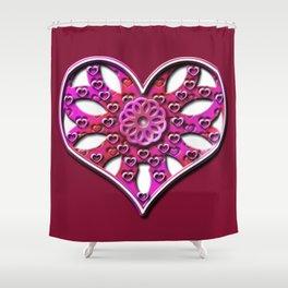 Raise Heart Valentine Shower Curtain