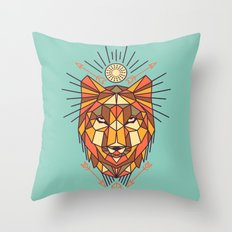 Geometric Wolf Throw Pillow