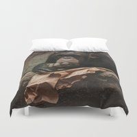 newspaper Duvet Covers featuring bored chimpanzee after reading newspaper by UtArt