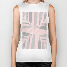 Geometric silver pink 2 light-grey autumn fall tropical pattern Palm leaves society6 Biker Tank