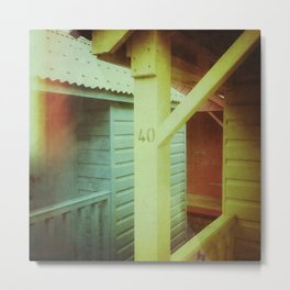 Beach Huts 40B - Retro Metal Print