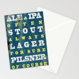 Beer always, vintage poster, metal texture background Stationery Cards
