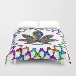 Butterflies Cannabis Leaf 2 Duvet Cover