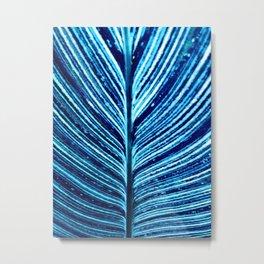 Feather Leaf in Blue Metal Print