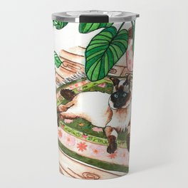 Lounging Siamese and Philodendrons Travel Mug
